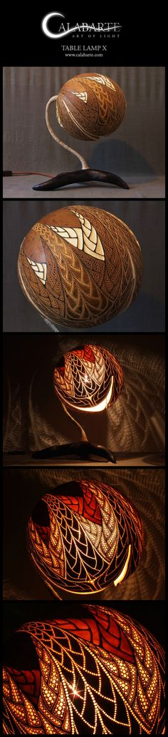 Table lamp X by Calabarte. Handcrafted lamp is made of senegalese calabash. More…