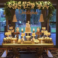 Gorgeous setup for communion  Styled by @stylish_events_decorations  Flowers @crazyaboutflowers  Desserts @sugarhighdesserts  Cupcakes cookies naked cakes @sweetsbypierra  Towers @strawberriesandco_ Cake stands @prettypedestals  Gold props @sugarhighdesserts  Table @maryronis  Cake @razzledazzlecakes  #gold #cake #communion #prophiresydney #prophire #flowerarch #strawberrytowers #macaroontowers #hangingflowers #christeningcakes #communion @bridal_inspire