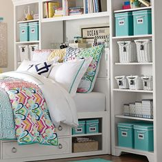 since storage is super important it's awesome to have adorable blue bins by your bedside!