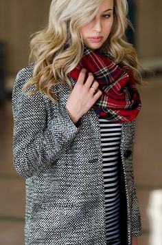 First of Mae: 2015 - Look Five. Strip dress from target. Old Navy jacket Chloe Janet bag.   Tartan scarf