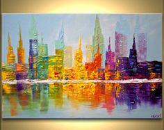 "Moderna 36 ""x 24"" pintura original de la ciudad Rascacielos Acrílico Firmado Paleta Cuchillo moderno de acrílico abstracta por Osnat Tzadok"