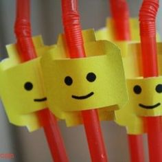You can make your straws Lego themed, too.   How To Throw The Ultimate LEGO Birthday Party by twila