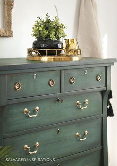Front of Empire Dresser layered in Chalk Paint with Brass Handles by Denise ~ Salvaged Inspirations. Chalk Paint Furniture, Furniture Projects, Furniture Makeover, Home Furniture, Furniture Buyers, Furniture Cleaning, Plywood Furniture, Furniture Plans, Modern Furniture