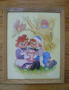 70s Vintage Raggedy Ann & Andy Print Wood by PopcornVintageByTann