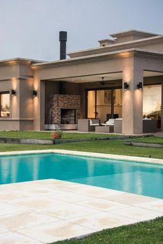 48 Amazing Minimalist House Ideas With Front Porch Design > Fieltro. House Exterior, House Outside Design, House Architecture Design, House Layouts, Modern Mansion, House Designs Exterior, Modern House Plans, Building A Porch, Porch Design