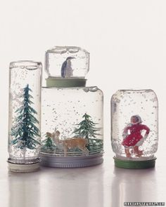 Make your own snowglobes! This looks so cool, and would be a cheap, easy way to get Christmas gifting out of the way...could use vintage jars instead for a more classy look