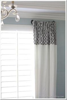 Window treatments - use pre-made drapes - cut part for top of white drapes from IKEA
