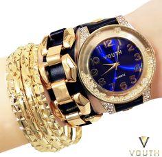 Relógio Bracelete de Couro Feminino Vouth  Visite nossa FanPage : https://www.facebook.com/Passarella-Brasil-212170078859412/ Visite nosso site: http://www.passarellabrasil.com.br/ #passarellabrasil #relógiovouth #vouth