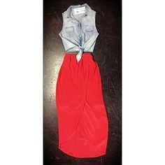 Silk High Waisted Skirt and Denim Shirt // Miami boutique // fashion // @girlswillbegirls