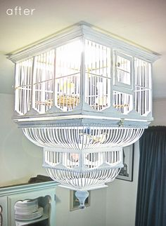 Birdcage as ceiling light fixture cover!