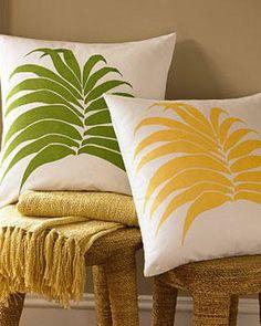 Green leaf cushion