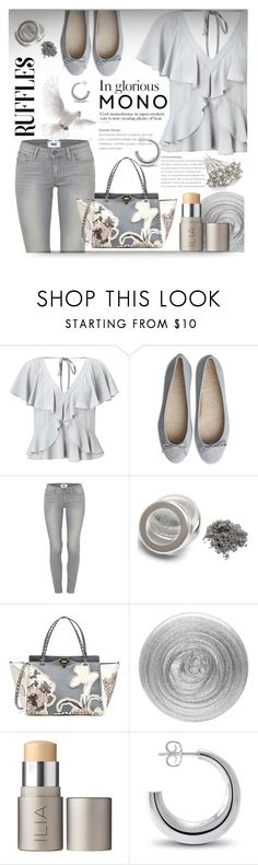 """""""Dove Grey"""" by queenofsienna ❤ liked on Polyvore featuring Miss Selfridge, Paige Denim, Valentino, Alasdair, Nails Inc., Ilia, Hargreaves Stockholm and ruffles"""