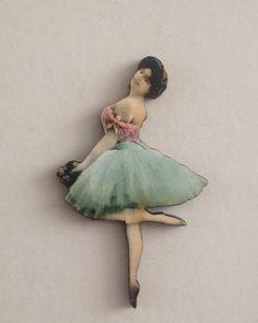 Wooden Ballerina Brooch Pale Blue Tutu by TheRowanTreeOnline