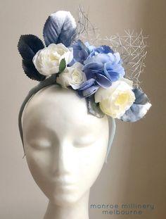 Blue & Cream Floral Fascinator