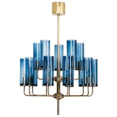Hans-Agne Jakobsson Ceiling Lamp in Brass and Blue Original Glass