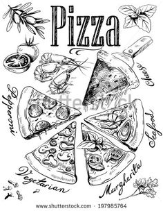 Find pizza ingredients stock images in HD and millions of other royalty-free stock photos, illustrations and vectors in the Shutterstock collection. Thousands of new, high-quality pictures added every day. Pizza Menu Design, Pizzeria Design, Pizza Branding, Pizza Logo, 5 Pizza, Veggie Pizza, Food Illustrations, Illustration Art, Pizza Ingredients