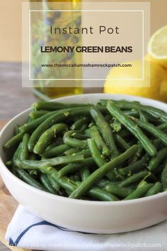 These deliciously lemony flavored green beans are quick and easy to make using an Instant Pot or pressure cooker. Lemony Green Beans are the perfect side for almost any meal and take only about 10 minutes to make using an electric pressure cooker or Instant Pot. via @themccallumssha Best Side Dishes, Healthy Side Dishes, Vegetable Side Dishes, Side Dish Recipes, Vegetable Recipes, Easy Dinner Recipes, Beef Recipes, Cooking Recipes, Delicious Recipes