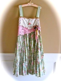 Boho French Sugar Dress Crochet Rose Hand Dyed Ruffled turn a skirt into a dress by adding straps...