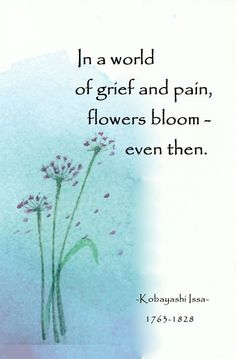 In a world of grief and pain, flowers bloom, even then. Zen Quotes, Poetry Quotes, Words Quotes, Inspirational Qoutes, Nice Quotes, Spiritual Quotes, Japanese Haiku, Japanese Poem, Flower Poem
