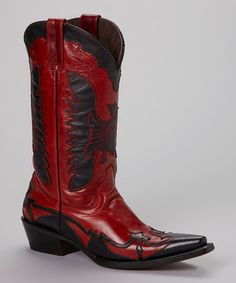 Vtg COWBOY BOOTS Red Black INLAY MULE EAR CUT OUTS Eagles Mens 9 ...