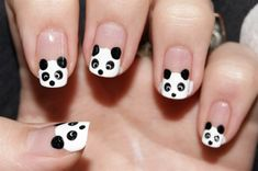 Panda Nail Designs | See more at http://www.nailsss.com/colorful-nail-designs/2/ | See more about pandas and nails.