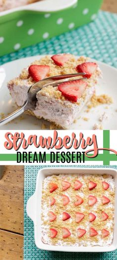 Strawberry Dream is the cousin of Pineapple Dream Dessert A combination of fresh strawberries cream cheese Cool Whip and a graham cracker crust it s a popular summer potluck dessert Strawberry Cream Cheese Dessert, Cream Cheese Desserts, Whipped Cream Cheese, Strawberry Desserts, Strawberry Sauce, Graham Crackers, Graham Cracker Dessert, Potluck Desserts, Easy Smoothie Recipes