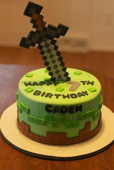 MINECRAFT Iron Sword Fondant Cake Topper by SugarKissCakeToppers - Kindergeburtstag - kuchen kindergeburtstag Minecraft Torte, Minecraft Sword, Minecraft Birthday Cake, Minecraft Iron, 7th Birthday, Easy Minecraft Cake, Cake Birthday, Minecraft Houses, Birthday Cakes For Boys