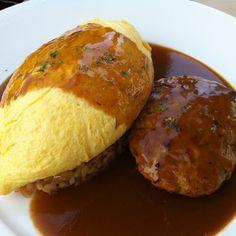 Japanese Omurice with Hamburger Steak in Red Wine Sauce