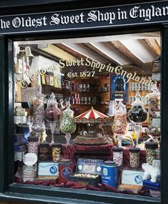 For those who like their sweets flavoured with a touch of nostalgia, look no further than The Oldest Sweet Shop in England (Harrogate). Think wall to wall lollipops, boiled sweets, sugar dusted jellies, salt liquorices and pretty green mints. Shop Fronts, England And Scotland, We Are The World, British Isles, London England, England Uk, Great Britain, Old Things, Around The Worlds