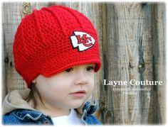 The Original- Kansas City Chiefs Crochet Newsboy Hat with Patch   NFL Baby    Football df4d27639