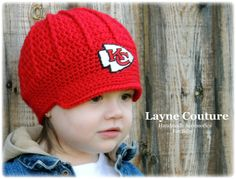 The Original- Kansas City Chiefs Crochet Newsboy Hat with Patch / NFL Baby / Football Baby / Item 1602 on Etsy, $29.99
