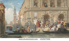 Masqueraders Boarding Gondolas before a Venetian Palazzo, by Eugene Louis Lami, 1869, French painting, watercolor, graphite on paper. The Venice Carnival on Shrove Tuesday marks the last day before t