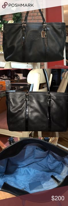 Coach Tote Like New Black leather, light blue interior, like new, a couple small marks on the inside but hard fk spot, can zip closed on top, 18 x 10 1/5 x 4 1/5 Coach Bags Totes