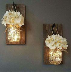 Mason Jar Sconces   20 DIY Christmas Bedroom Decor Ideas for Teen Girls #homedecordiybedroom #cozyhomedecor