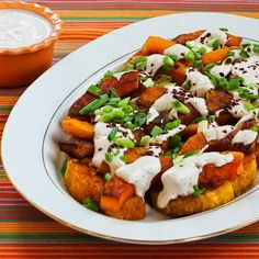 This recipe for Roasted Butternut Squash Wedges with Tahini-Yogurt Sauce, Sumac, and Aleppo Pepper is a seriously kicked-up way to serve butternut squash.  I love the creamy squash with the tahini-yogurt sauce. [from KalynsKitchen.com] #ButternutSquash