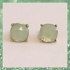 Large Mint Green Stud Earrings Beautiful Large Stud Earrings in a Light Mint Green color set in gold tone posts. Approximate size of a dime or penny. New. No Trades. ✨Note: All products are free from detectable defects by me unless otherwise stated in the description. All products are sold as is & without refunds or returns.✨ Boutique Jewelry Earrings