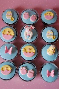 easter cupcakes (bunny, chicken, egg)