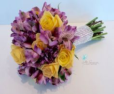 Purple alstroemeria and Yellow Rose Bouquet