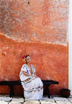 mérida, mexico, mayan woman in colonial town
