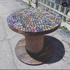 Wood Spool Tables, Cable Spool Tables, Bottle Top Tables, End Tables, A Table, Beer Cap Table, Cable Drum Table, Large Wooden Spools, Bar Top Epoxy