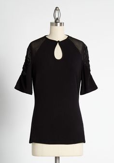 Cordially Inspired Keyhole Top - We are confident that your next look will be instantly elevated with the help of this black keyhole top. Achieving a look you love is easy when your foundations are focused on style. With a keyhole at the chest and gauzy panels at each sleeve, it is no wonder you reach for this top anytime you plan to make a statement. Fall Dresses, Fall Outfits, Cute Outfits, Casual Tops, Casual Wear, Cute Tops, Modcloth, Black Tops, The Help