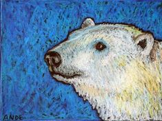 """Polar Bear Portrait"" - Original Fine Art for Sale - © Ande Hall"