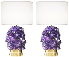 amethyst and bronze lamps