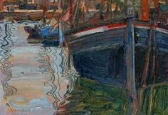 Egon Schiele, Boats Mirrored in the Water, 1908