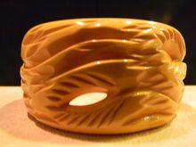 HUGE carved vintage BAKELITE bracelet $450