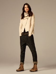 From the All Saints lookbook; drop-crotch jeans and worn out boots.