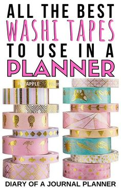 Make your planner look incredible by decorating it with washi tapes! Read here for our list of the best. #washitape #forplanner #planneraddict #washitapeuses #stationery Washi Tape Uses, Washi Tape Storage, Washi Tape Crafts, Washi Tapes, Day Planner Organization, Sticker Organization, Planner Ideas, Organization Ideas, Storage Ideas