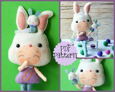 PDF. Bunny girl with puppet .Plush Doll Pattern, Softie Pattern, Soft felt Toy Pattern. via Etsy