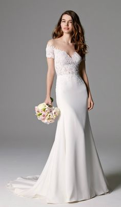 Off-the-shoulder wedding dress with beautiful neckline | 'Seaton' by Watters