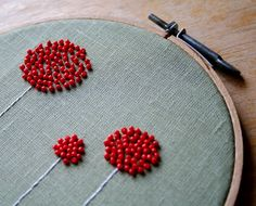 Make the beads french knots! Obsessed with french knots.